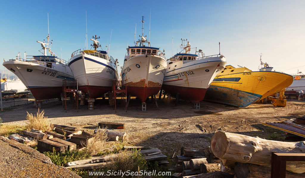 fishing boats in Riposto, a small town in Sicily